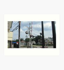 Train Signals at North Scituate Intersection Art Print