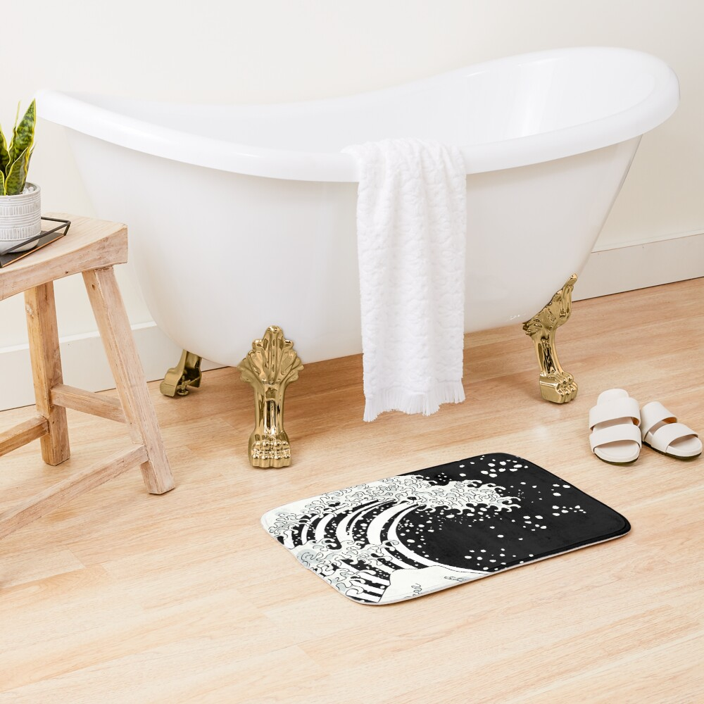 Black and White Great Wave Bath Mat
