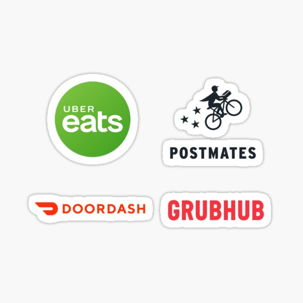 Uber Eats, Postmates, DoorDash and Grubhub Decals Set Sticker