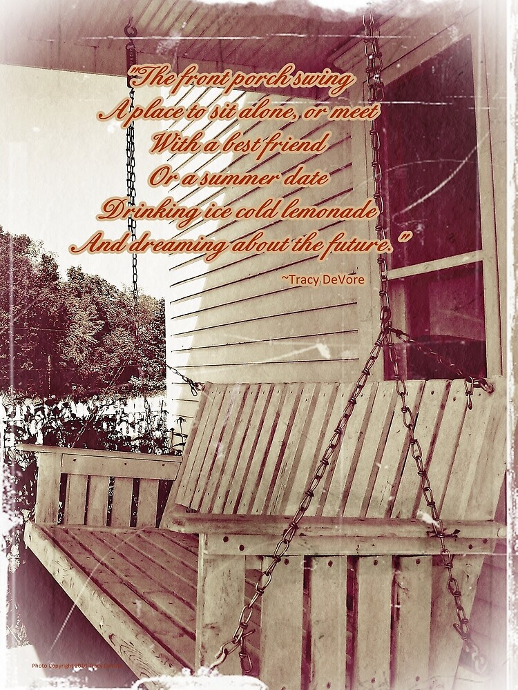 Old porch swing by greeting cards by tracy devore for Old porch swing