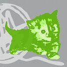 Hier Kitty, Kitty - Neongrün / Grau | Kätzchen, Katze, Garn, Niedlich, Süß, Adorbiert, Liebenswert, Neon, Hit, Grün, Gras, Hell, Limette, Blass, Pastell, Grau, Asche, Holzkohle von CanisPicta