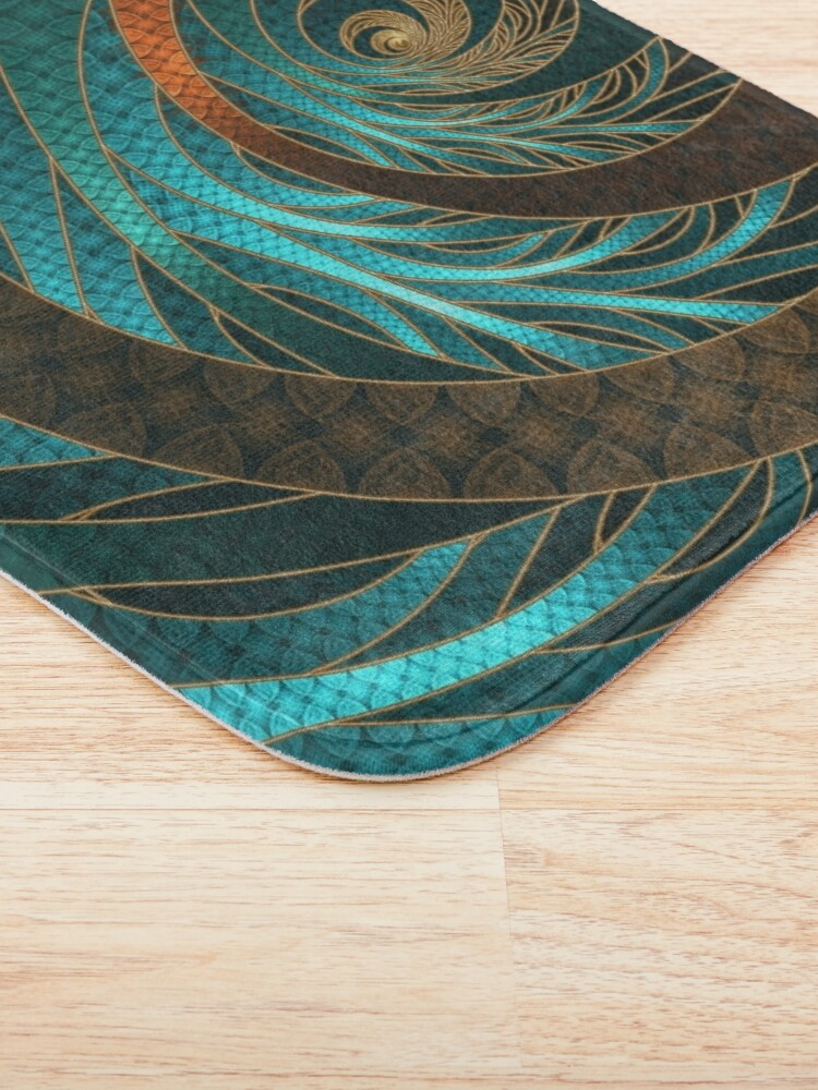 Alternate view of Beautiful Corded Leather Turquoise Fractal Bangles Bath Mat