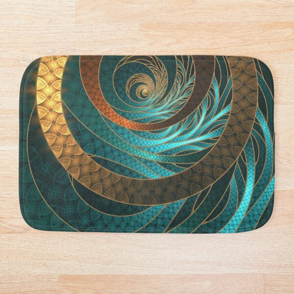 Beautiful Corded Leather Turquoise Fractal Bangles Bath Mat