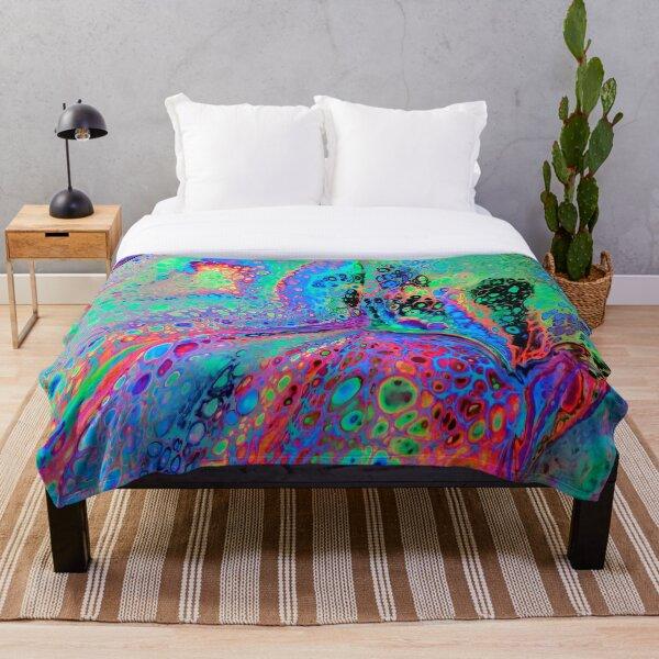 Electric Leopard Pattern Super Fluid Soul Acrylic Pour Design Throw Blanket