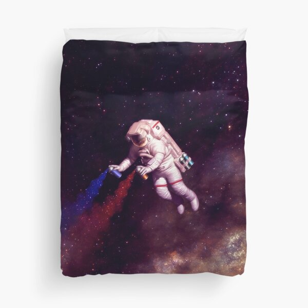 Shooting Stars - the astronaut artist Duvet Cover