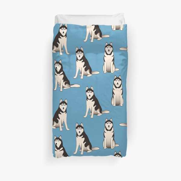 Husky Dogs on blue (with stickers) Duvet Cover