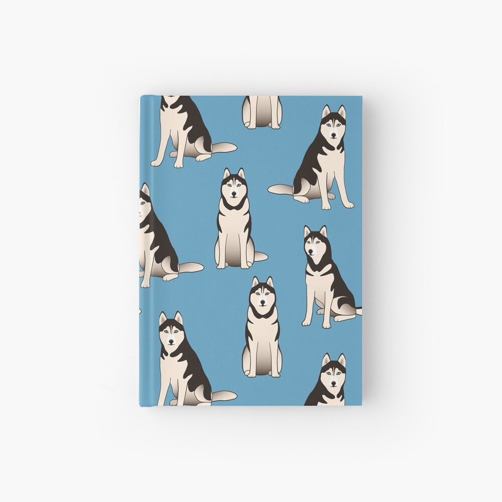 Husky Dogs on blue (with stickers) Hardcover Journal