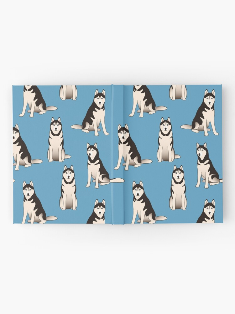 Alternate view of Husky Dogs on blue (with stickers) Hardcover Journal