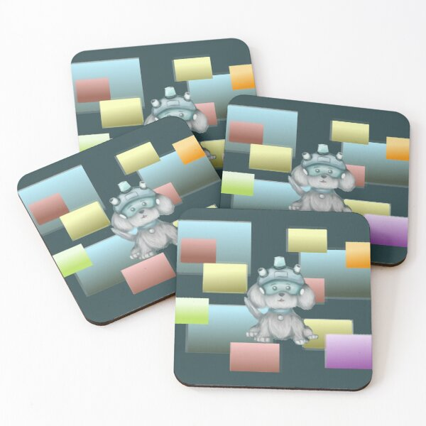 Snowball Snuffles Cyberspace Coasters (Set of 4)