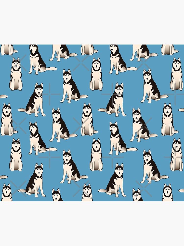 Husky Dogs on blue (with stickers) by nadyanadya