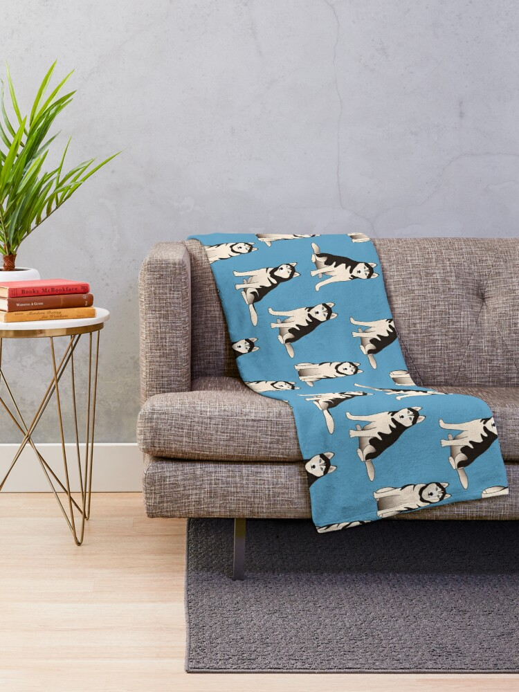 Alternate view of Husky Dogs on blue (with stickers) Throw Blanket