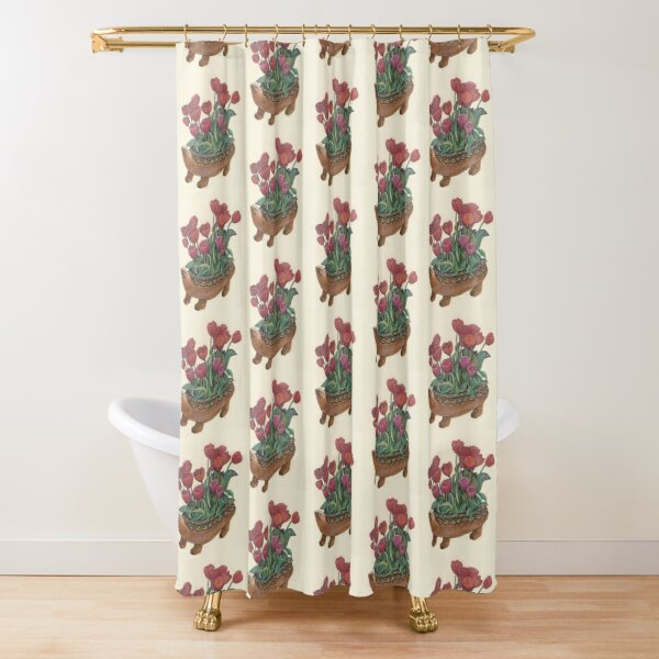 Turtle and Tulips Shower Curtain