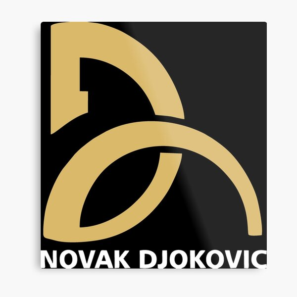 Novak Djokovic Tennis Player Logo Gold White Metal Print