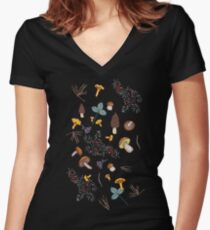 dark wild forest mushrooms Women's Fitted V-Neck T-Shirt