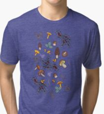 dark wild forest mushrooms Tri-blend T-Shirt