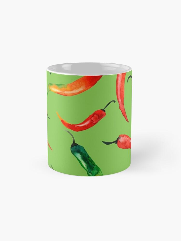 Alternative Ansicht von - Chilli-Muster (grün) - Tassen
