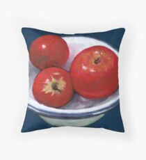 Red Apples in Old Enamel Bowl, Oil Pastel Throw Pillow