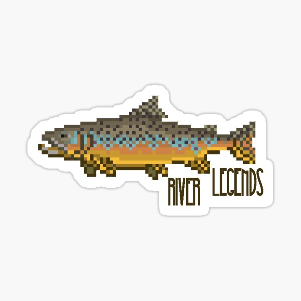 Brown Trout Pixel Art - River Legends Sticker