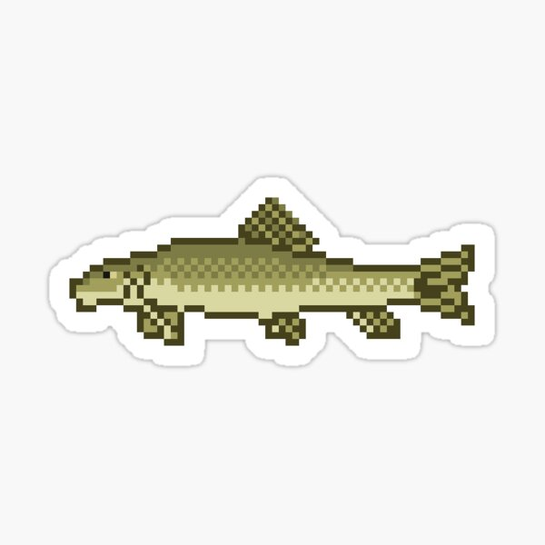 White Sucker Fish - Pixel Art Sticker Sticker