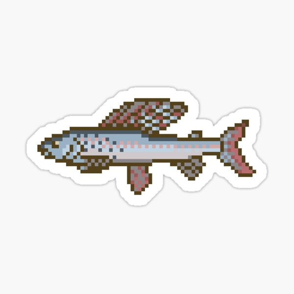 Trophy Grayling Sticker - Pixel Art Fishing Sticker