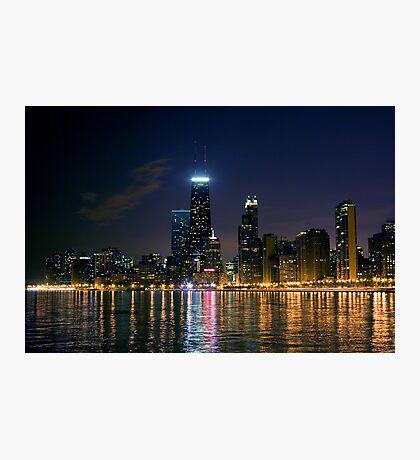 chicago skyline at night Photographic Print
