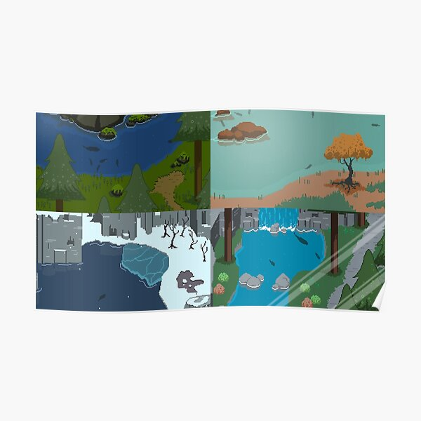 Pixel Art Fishing Scenes - River Legends Print Poster
