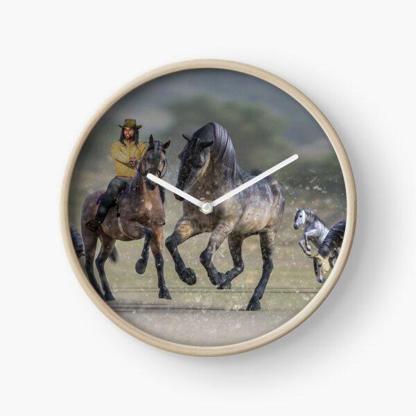 Rider and Horses Clock