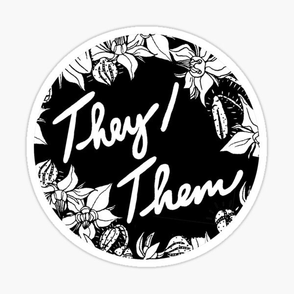 they them theirs script floral borage Sticker