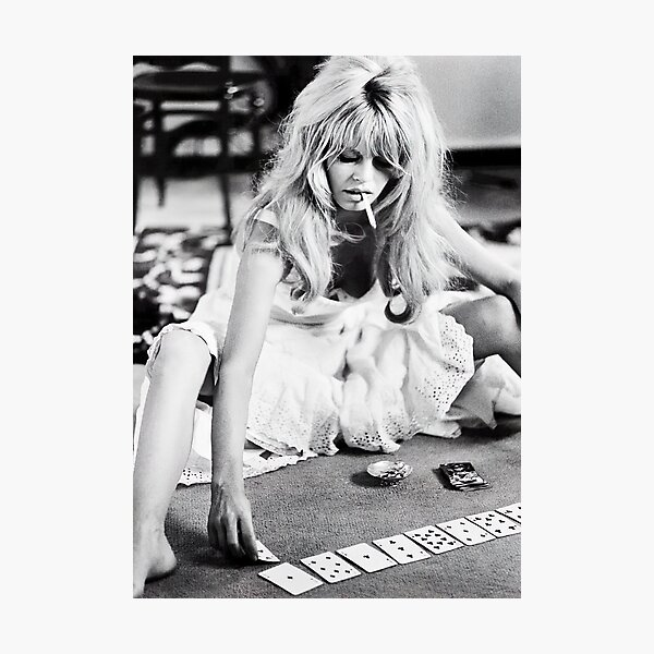 Brigitte Bardot Playing Cards Vintage Photograph Photographic Print