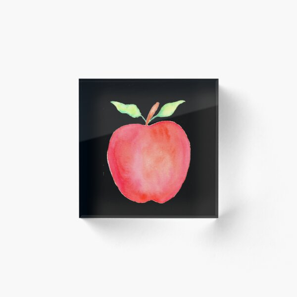Watercolor Apple Acrylic Block