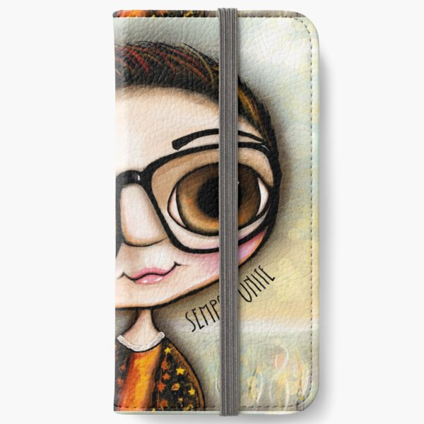 Big eyes Child with black glasses  iPhone Wallet