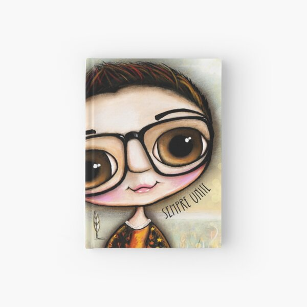 Big eyes Child with black glasses  Hardcover Journal