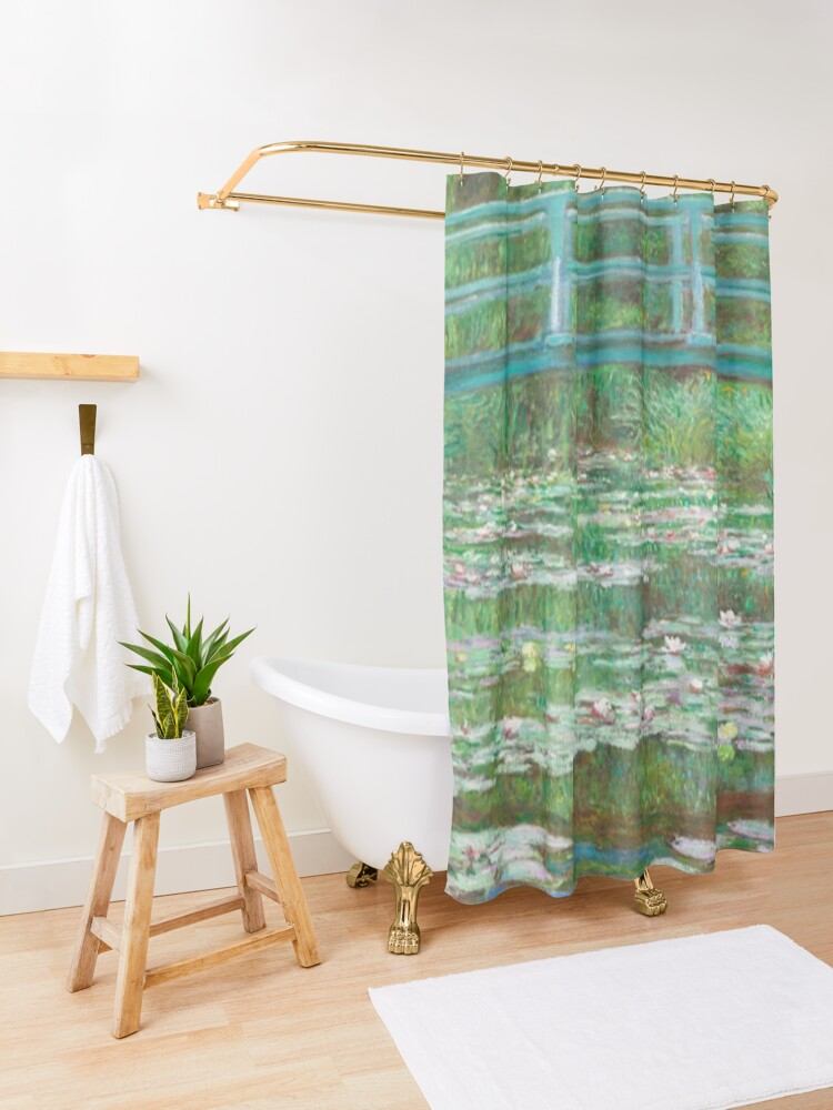 Alternate view of Monet Painting Shower Curtain
