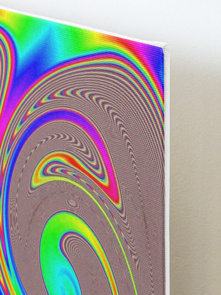 Alternate view of #Rainbow, #abstract, #art, #psychedelic, design, creativity, vortex, illustration, pattern, decoration, funky, color image Mounted Print