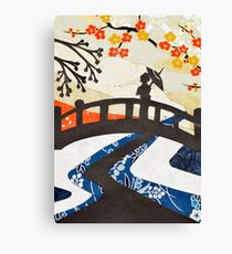 Geisha on Bridge Canvas Print