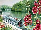 Hollyhocks near the River Seine by Ann Mortimer