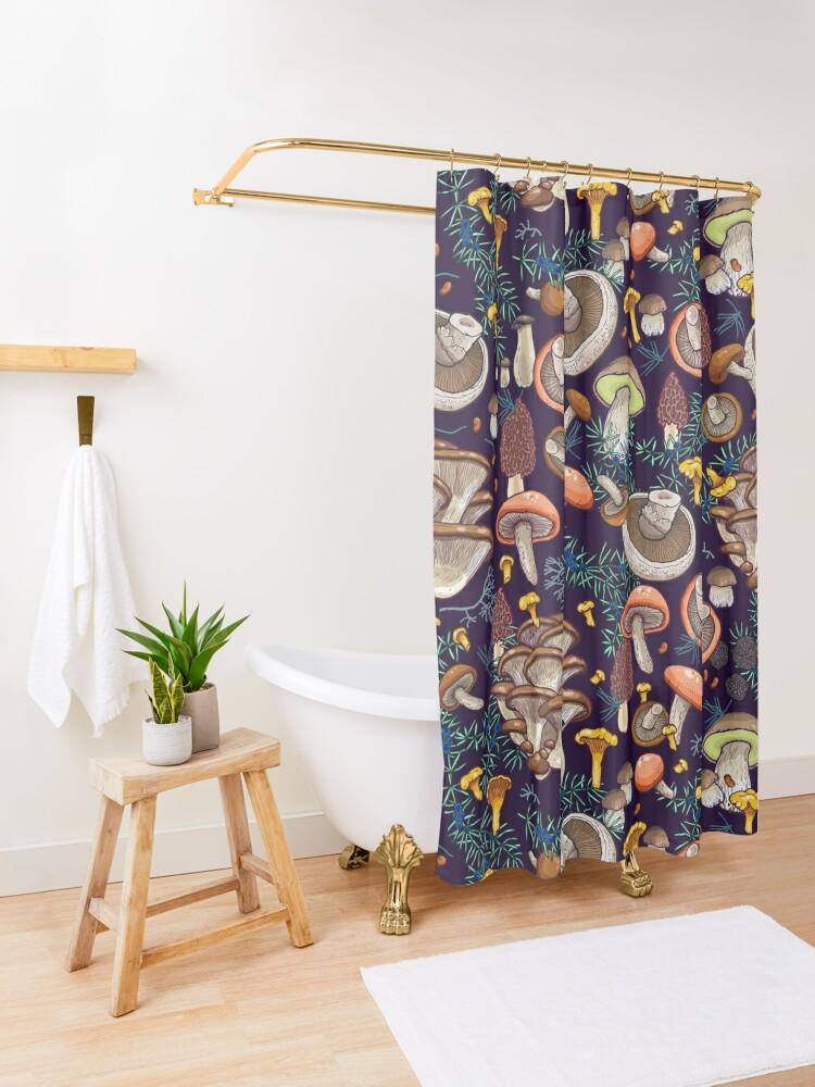 Alternate view of Dark dream forest Shower Curtain