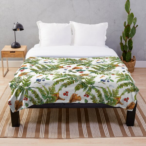 Forest ferns, berries and mushrooms Throw Blanket