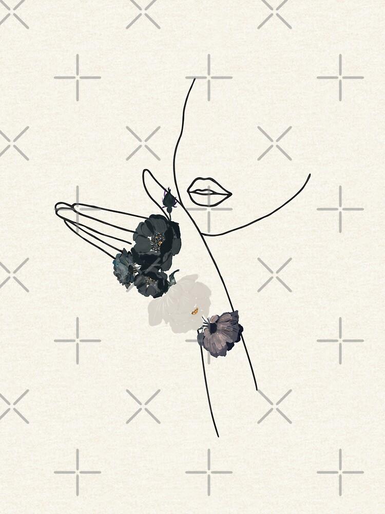 Girl Flower Kisses - Line Drawing  by UtArt