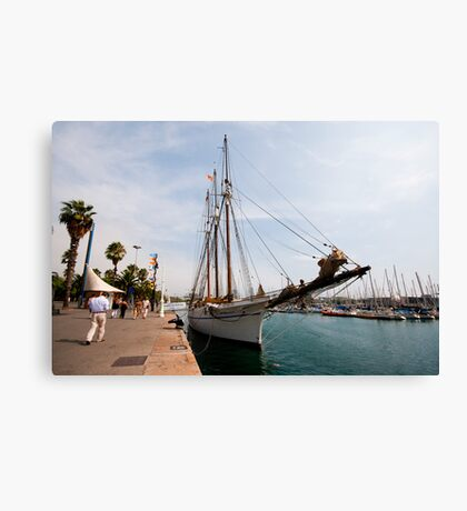 Sail Yacht in the Habour  Barcelona  Canvas Print