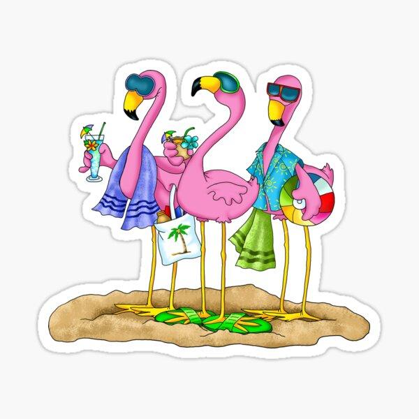 Flamingo Beach Party Sticker