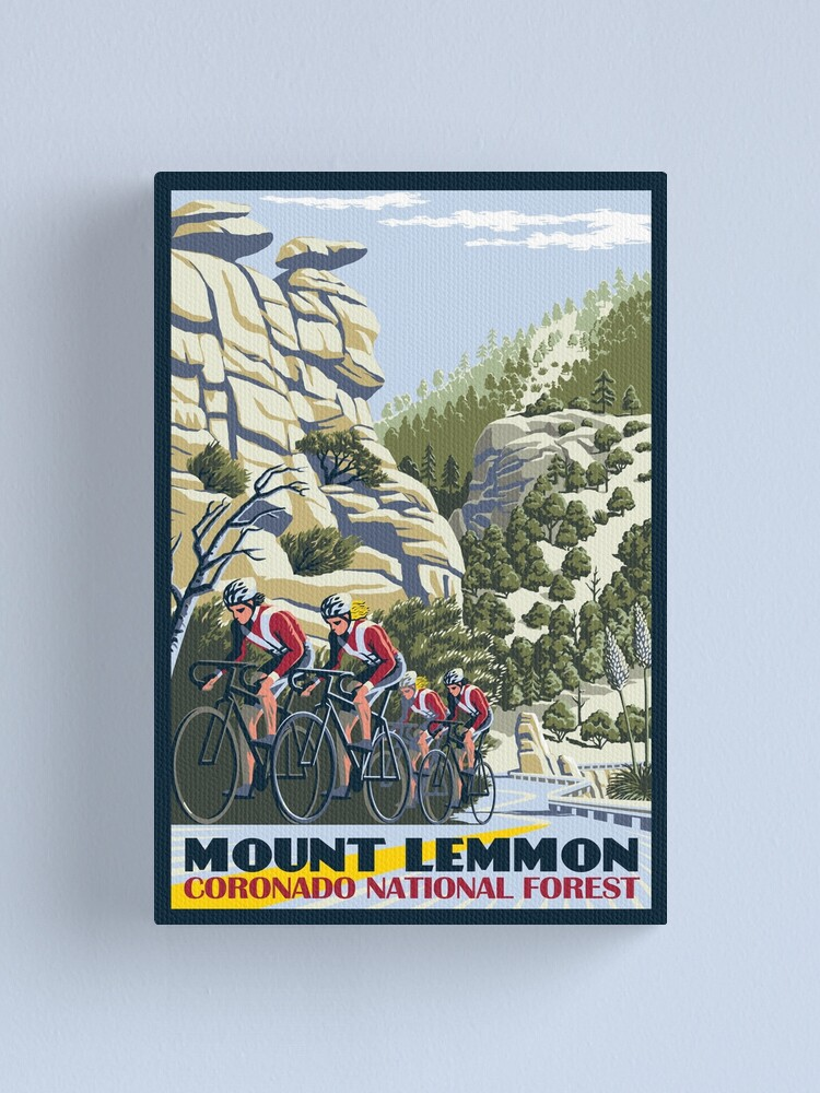 Alternate view of Cycling on Mount Lemmon Canvas Print