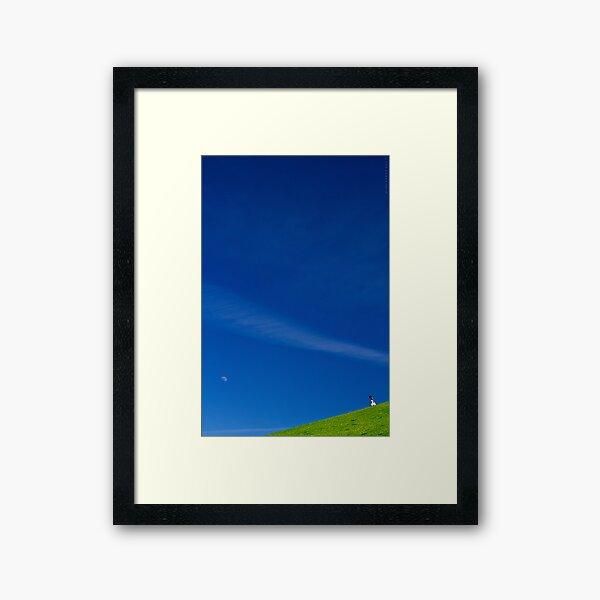 the girl on a hill Framed Art Print