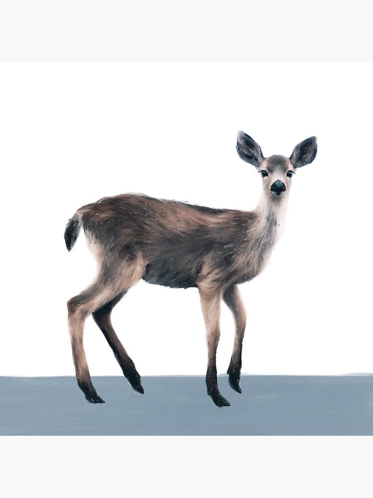 Deer on Slate Blue by AmyHamilton