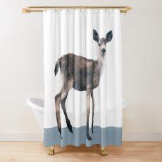 Deer on Slate Blue Shower Curtain