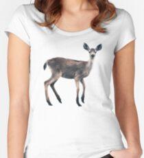 Deer on Slate Blue Fitted Scoop T-Shirt
