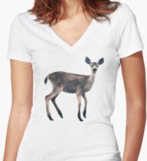 Deer on Slate Blue Fitted V-Neck T-Shirt