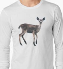 Deer on Slate Blue Long Sleeve T-Shirt
