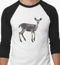 Deer on Slate Blue Baseball ¾ Sleeve T-Shirt