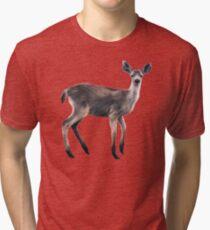 Deer on Slate Blue Tri-blend T-Shirt